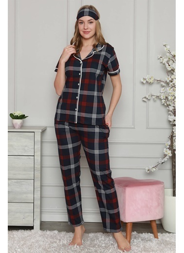 Akbeniz Kadın %100 Pamuk Önden Düğmeli Kısa Kol Pijama Takım 2807 Lacivert